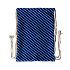 Striped  Line Blue Drawstring Bag (small) by Mariart