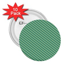 Striped Green 2 25  Buttons (10 Pack)