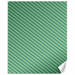 Striped Green Canvas 16  X 20   by Mariart