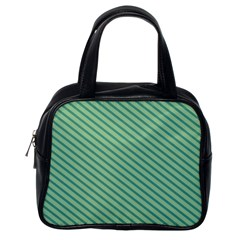 Striped Green Classic Handbags (one Side) by Mariart