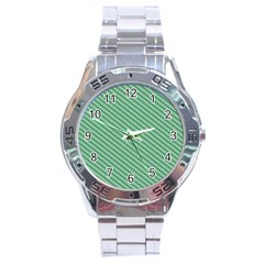 Striped Green Stainless Steel Analogue Watch by Mariart