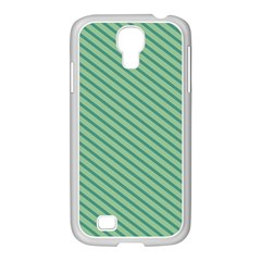 Striped Green Samsung Galaxy S4 I9500/ I9505 Case (white) by Mariart
