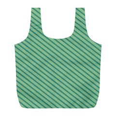 Striped Green Full Print Recycle Bags (l)  by Mariart