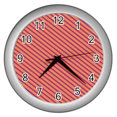 Striped Purple Orange Wall Clocks (silver)