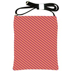 Striped Purple Orange Shoulder Sling Bags by Mariart
