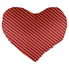 Striped Purple Orange Large 19  Premium Heart Shape Cushions by Mariart