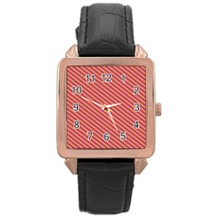 Striped Purple Orange Rose Gold Leather Watch  by Mariart