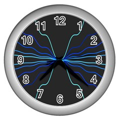 Sine Squared Line Blue Black Light Wall Clocks (silver)  by Mariart