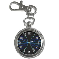 Sine Squared Line Blue Black Light Key Chain Watches by Mariart
