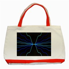 Sine Squared Line Blue Black Light Classic Tote Bag (red)