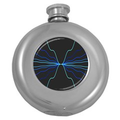 Sine Squared Line Blue Black Light Round Hip Flask (5 Oz) by Mariart