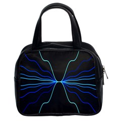 Sine Squared Line Blue Black Light Classic Handbags (2 Sides) by Mariart