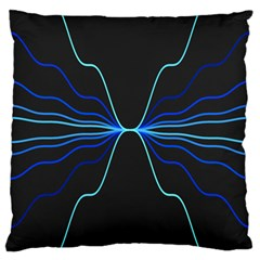 Sine Squared Line Blue Black Light Large Cushion Case (two Sides) by Mariart