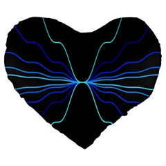 Sine Squared Line Blue Black Light Large 19  Premium Heart Shape Cushions by Mariart