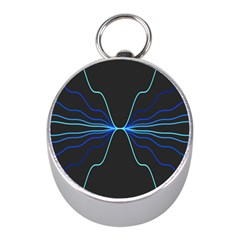 Sine Squared Line Blue Black Light Mini Silver Compasses by Mariart