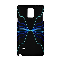 Sine Squared Line Blue Black Light Samsung Galaxy Note 4 Hardshell Case by Mariart