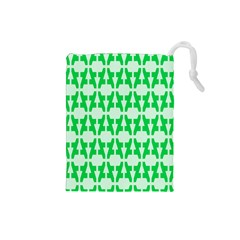 Sign Green A Drawstring Pouches (small)  by Mariart