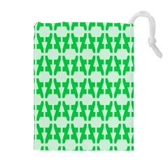 Sign Green A Drawstring Pouches (extra Large) by Mariart