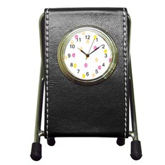 Stone Diamond Yellow Pink Brown Pen Holder Desk Clocks by Mariart
