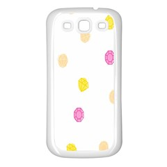 Stone Diamond Yellow Pink Brown Samsung Galaxy S3 Back Case (white) by Mariart