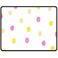 Stone Diamond Yellow Pink Brown Double Sided Fleece Blanket (medium)  by Mariart