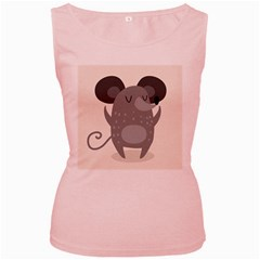 Tooth Bigstock Cute Cartoon Mouse Grey Animals Pest Women s Pink Tank Top by Mariart