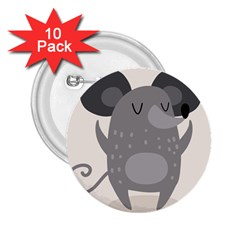 Tooth Bigstock Cute Cartoon Mouse Grey Animals Pest 2 25  Buttons (10 Pack)