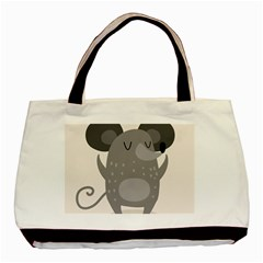 Tooth Bigstock Cute Cartoon Mouse Grey Animals Pest Basic Tote Bag (two Sides) by Mariart
