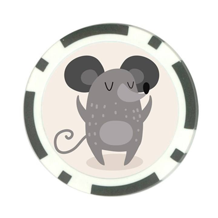 Tooth Bigstock Cute Cartoon Mouse Grey Animals Pest Poker Chip Card Guard (10 pack)
