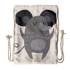 Tooth Bigstock Cute Cartoon Mouse Grey Animals Pest Drawstring Bag (large) by Mariart