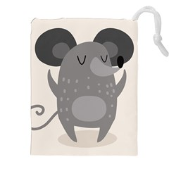 Tooth Bigstock Cute Cartoon Mouse Grey Animals Pest Drawstring Pouches (xxl) by Mariart