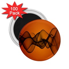 Transparent Waves Wave Orange 2 25  Magnets (100 Pack)  by Mariart