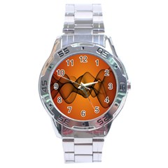 Transparent Waves Wave Orange Stainless Steel Analogue Watch by Mariart