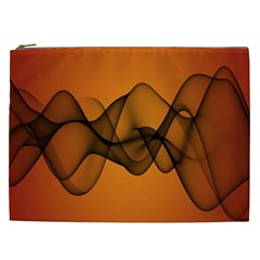 Transparent Waves Wave Orange Cosmetic Bag (xxl)  by Mariart