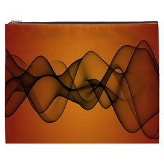 Transparent Waves Wave Orange Cosmetic Bag (xxxl)  by Mariart
