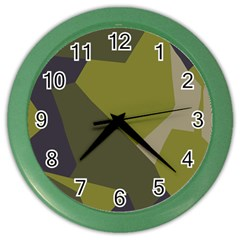 Unifom Camuflage Green Frey Purple Falg Color Wall Clocks by Mariart