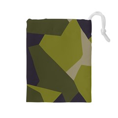 Unifom Camuflage Green Frey Purple Falg Drawstring Pouches (large)  by Mariart