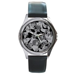 Urban Initial Camouflage Grey Black Round Metal Watch by Mariart