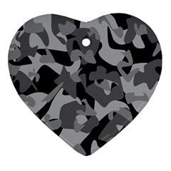 Urban Initial Camouflage Grey Black Ornament (heart) by Mariart