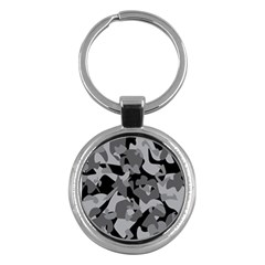 Urban Initial Camouflage Grey Black Key Chains (round)  by Mariart