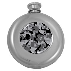 Urban Initial Camouflage Grey Black Round Hip Flask (5 Oz) by Mariart