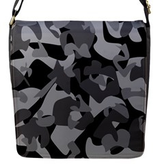 Urban Initial Camouflage Grey Black Flap Messenger Bag (s) by Mariart