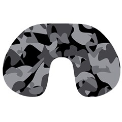 Urban Initial Camouflage Grey Black Travel Neck Pillows by Mariart