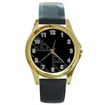 Triangle Black White Chevron Round Gold Metal Watch Front