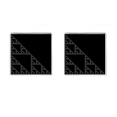 Triangle Black White Chevron Cufflinks (square) by Mariart
