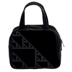 Triangle Black White Chevron Classic Handbags (2 Sides) by Mariart