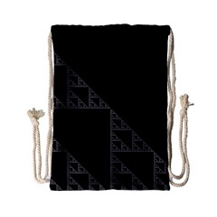 Triangle Black White Chevron Drawstring Bag (small)