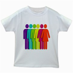 Trans Gender Purple Green Blue Yellow Red Orange Color Rainbow Sign Kids White T Shirts by Mariart