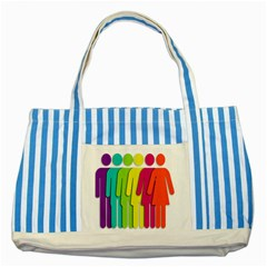 Trans Gender Purple Green Blue Yellow Red Orange Color Rainbow Sign Striped Blue Tote Bag by Mariart