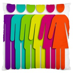 Trans Gender Purple Green Blue Yellow Red Orange Color Rainbow Sign Large Cushion Case (one Side) by Mariart
